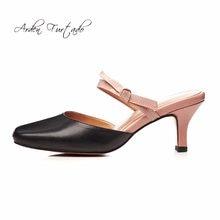 847cd43b28 Arden Furtado 2018 verão de couro genuíno sexy de salto alto 6 cm sapatos  da moda mulher deslizar sobre nó borboleta slides mula.