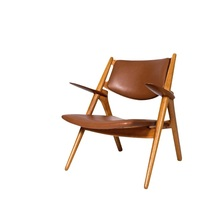 Sweden Design Wood Chair with Authentic Leather Upholstery