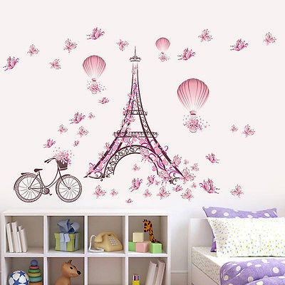 2018 Pink Flower Butterfly Bicycle Eiffel Tower Wall Stickers Romantic Vinyl Decal Wall Sticker Mural DIY Home Room Decor(China)