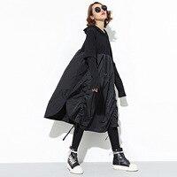 [OL] 2017 Outono Nova Moda Plus Size Solta das Mulheres Vestido de Cor Sólida Com Capuz Camisa Mulher Vestidos Patchwork Babados Fold Z982