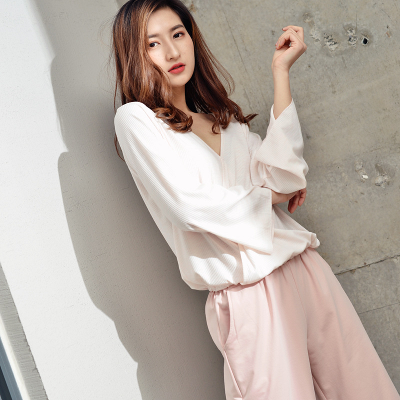 2019 Spring New Set Loose Long Sleeve Trousers Pajamas Simple Casual Comfortable Pijama Mujer V-Neck Sleepwear Home Clothes