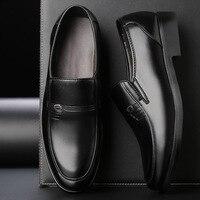 Мужские модельные туфли коричневого цвета, увеличивающие рост мужские строгие туфли из натуральной кожи черные итальянские модные деловые...