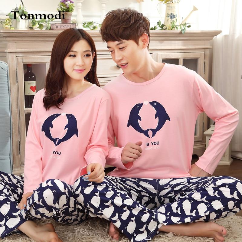 Couples Pajamas Women Lovers Men Sleepwear Cotton Long-sleeve Animal Dolphin Pajama Set Women Sleep Lounge Pyjamas