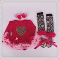 4PCs per Set Infant Outfits Red Leopard Baby Girls Long Sleeves Tutu Dress Headband Shoes Leggings for 0-12months Free Shipping