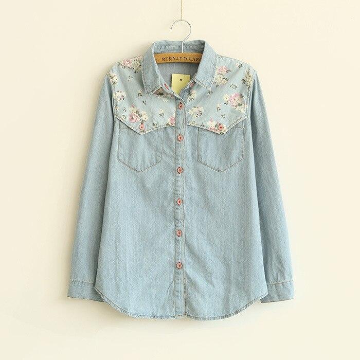 9ecab06a4 2018 أزياء السيدات أنيقة الحلو الأزهار تقسم الأزرق قميص دينيم بلوزة طويلة  الأكمام عارضة ضئيلة قمصان تعزيز
