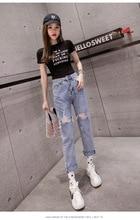 Papá sueltos pantalones de las mujeres de la primavera de 2019 nueva web celebridad ultra alta cintura retro versátil encuentro mostrar delgada agujeros PI PI pantalones vaqueros