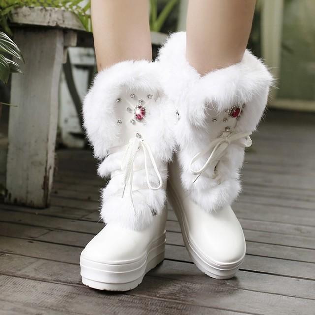 Горячая 2015 зимнего отдыха горный хрусталь PU действительно удобно и теплый мех кролика кружева-up дышащий круглый носок плоским женщин-сапоги