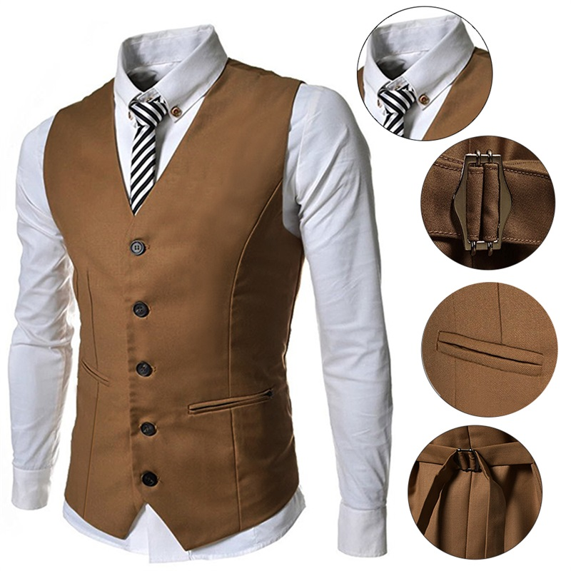 bf19e70caaa9d Hemiks Casual Solid Color Single Breasted Sleeveless Vest Slim Fashion Men  Waistcoat-in Vests   Waistcoats from Men s Clothing   Accessories on ...