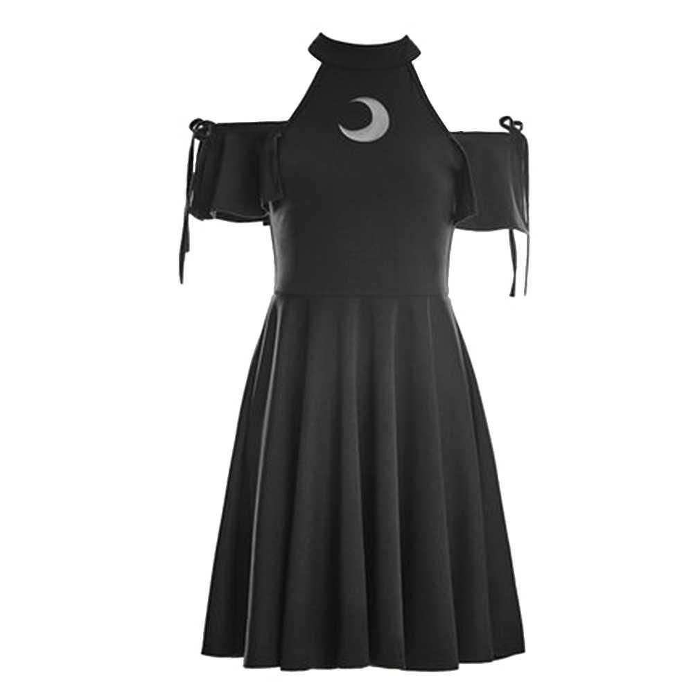 女性ホルターブラックゴシックドレス夏セクシーなコールドショルダーもののミニドレス 2019 かわいい日本ガール中空ゴスショートドレス