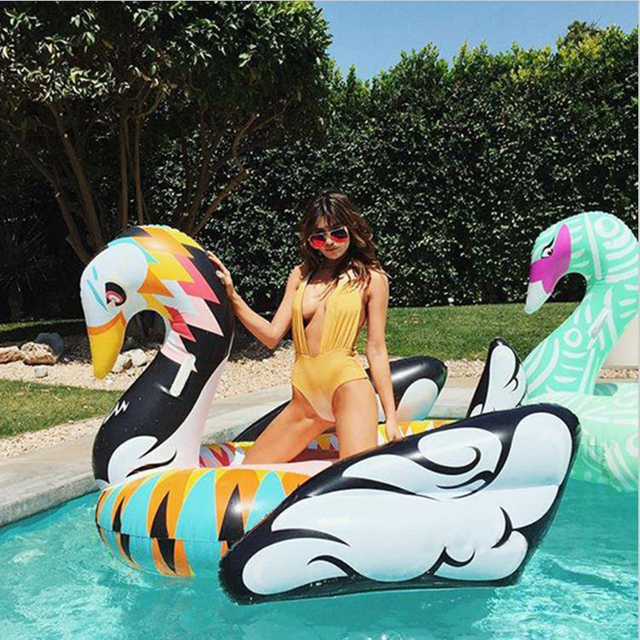190cm Colorful Swan Pool Float Women Inflatable Floating Row Ride On  Swimming Rings Beach Party