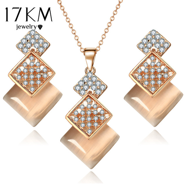 17KM Geometric Jewelry Set For Woman Gold Color Long Necklace Pendant Crystal Earrings Wedding Beads Fashion Jewelry Gift