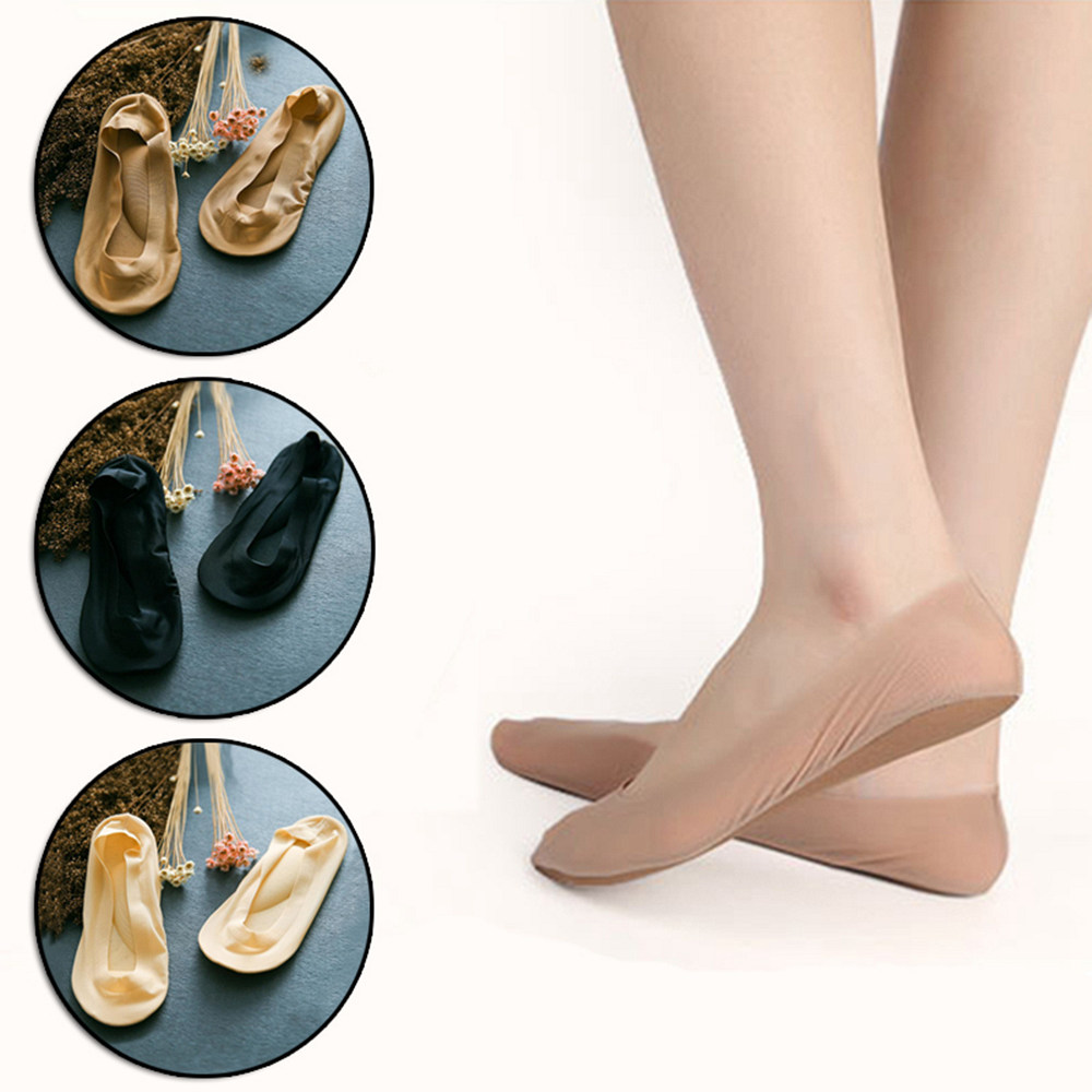 1 Pair 3D Arch Foot Massage Health Care Women Summer Socks Ice Silk Socks Shallow Mouth Silica Gel  Invisible Slippers P0262