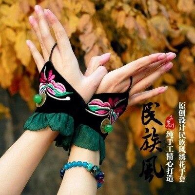 Dance Partry Accessories Embroidery Chiffon Fingerless Hand Wearing Beading Wrist Guard Boho Styel Summer Autumn Fashion Stuff