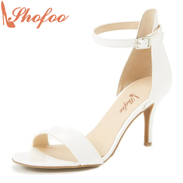 06a4b6a42ecd Ivory Wedding Summer 2017 Bride Women Leather Shoes Handmade Peep Toe High  Heel Covered Gladiator Sandals Sapato De Salto Shofoo
