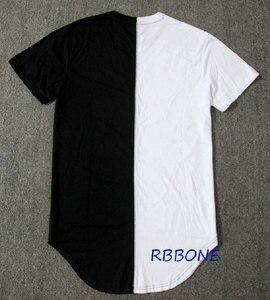 Image 2 - Half zwart wit Nieuwe Designer 2019 Mannen Zomer Extended T shirt Hip Hop Street Fashion Casual Korte Mouw T shirt Mannen