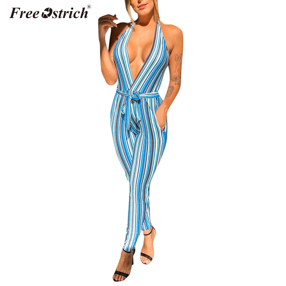 Jumpsuit women summer rompers womens sexy backless indie striped printed halter strapless pencil pants jumpsuit n30