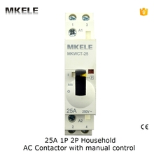 2P  2NO 25A 110V Din Rail Household AC Contactor  With Manual Control MKWCT-25M