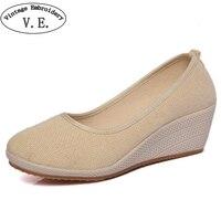 Chinese Women Pumps Ethnic Natural Linen Shoes 5cm Heel Retro Simple Cloth Canvas Wedges Shoes Woman