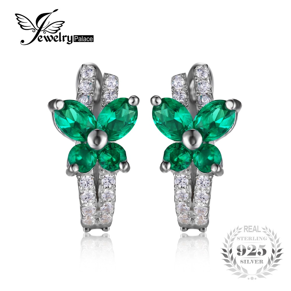 Jewelrypalace Cute Butterfly 1ct Created Emerald Clip On Earrings Solid 925  Sterling Silverjewelry Fashion Women Party