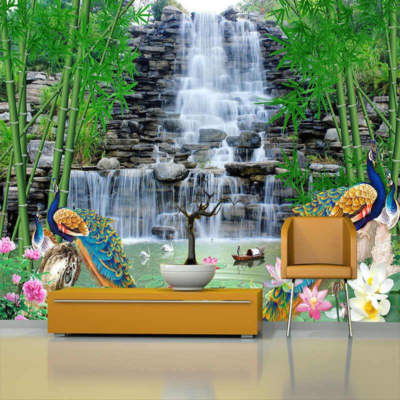 Пользовательские фото обои 3D водопад бамбук Лотос Павлин пейзаж Фреска Гостиная ТВ диван фон настенный домашний Декор 3D