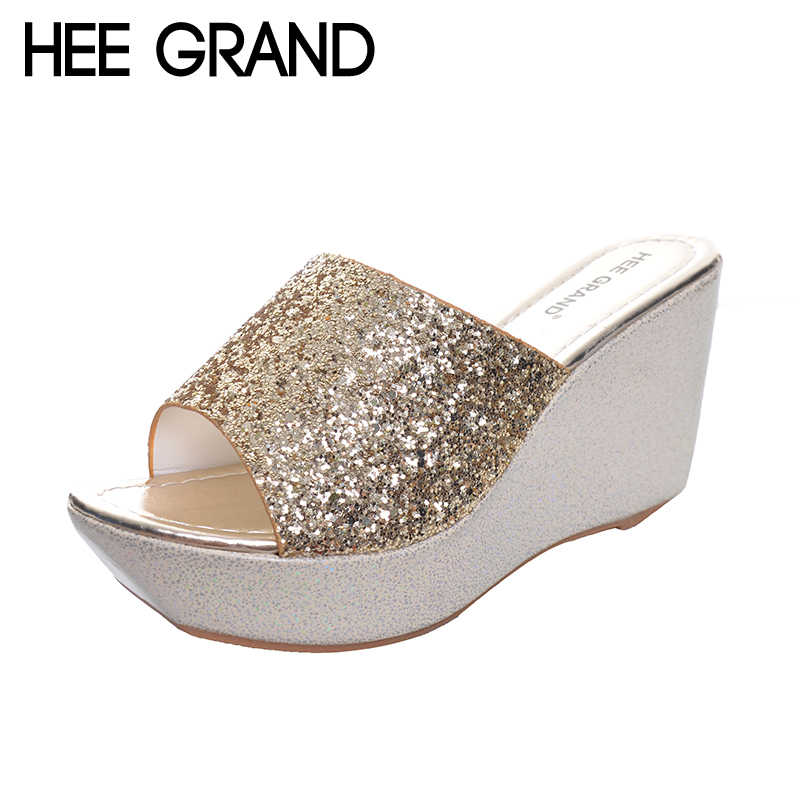 HEE GRAND Women Slippers Bling Bling Glitter Platform Wedge Slides 2017 Thick Bottom Casual Women Shoes XWT513