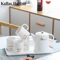 KuBac HoMmi Bone China Ceramic Coffee Set Black Tea Set Ceramic Pot Creamer Party Teapot Coffee Cup Tea Mug