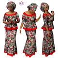 BRW Ropa para Mujer de Impresión de Dos Piezas Conjunto Camisa Dashiki Africano vestidos camisa corta y falda del partido del cordón africano bazin riche wy951