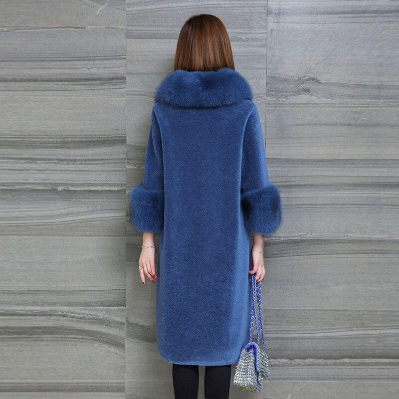 Manteau 2018 Femmes Bleu Lâche Manteaux Royal kaki Agneaux Long Laine Renard De Vestes Femelle Couleurs Multiples Mode D'hiver camel Fourrure Grand Col tqrx7tAw