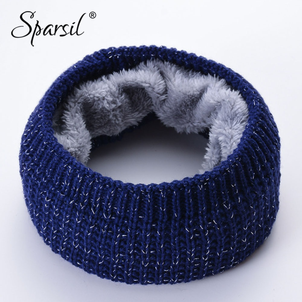 Sparsil New Winter Thicken Shining Knitted Ring Scarf Fleece Neck Warmer 2018 Windproof Comfort Mufflers Women Men Child Scarves