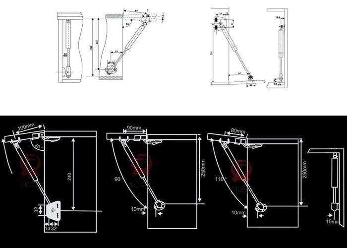 KAK 100N /10kg Copper Force Door Lift Support Gas Hydraulic Spring Hinge Cabinet Door Kitchen Cupboard Hinges Furniture Hardware