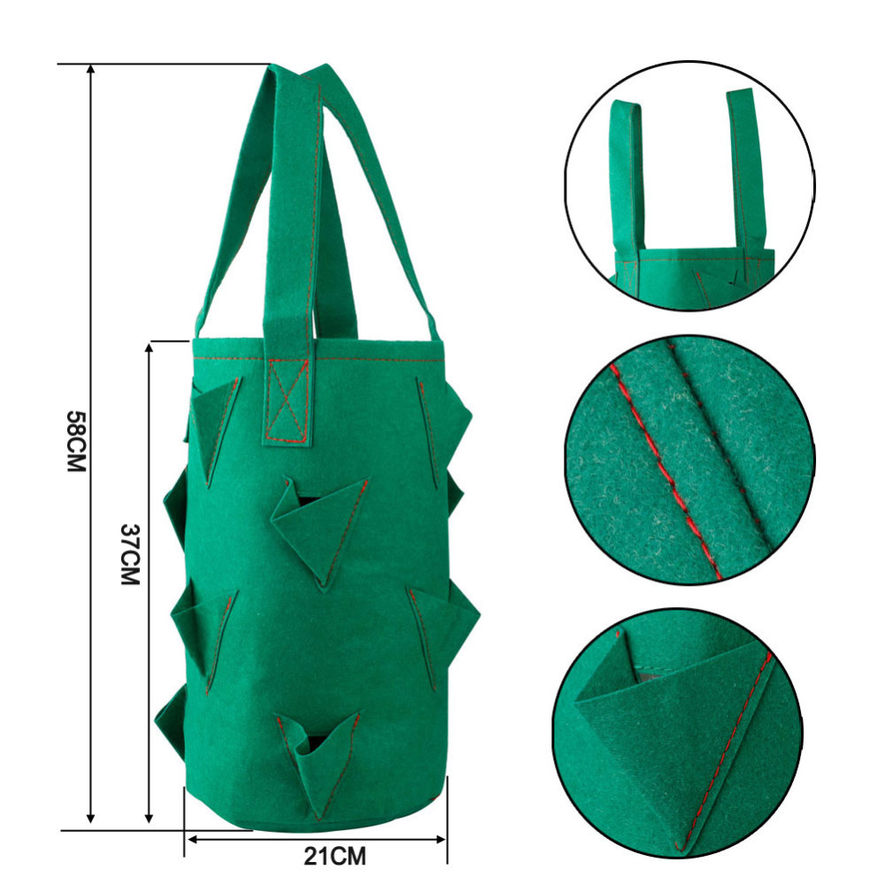 38*22cm 11 Holes Strawberry Planting Grow Bags Pocket Home Garden Hanging Herb Plant Bags Home & Garden