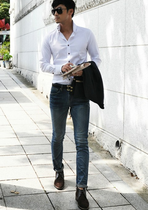 Free Shipping Men Fashion T Shirt Men Simple Design Pure Color Long Sleeve Oxford Shirt Men