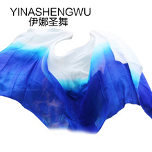 Belly Dance Props Women Silk Veils Veil For Girls white+royal blue