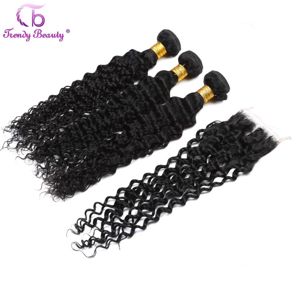 Trendy Beauty Hair Malaysian Deep Curly Human Hair Weave Extensions 3Bundles With Closure 8-28 Inches Color #1B Can Be Dye Thick