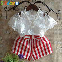 Sodawn Girls Sets New Children Clothing  Kids Clothes Pullover White Lace Shirt+Red Stripe Shorts 2Pcs Suit
