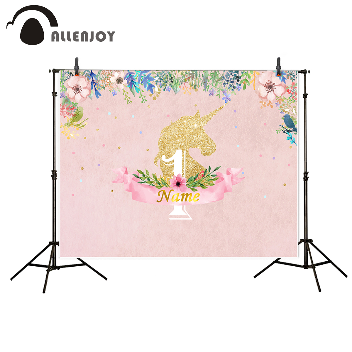 Allenjoy photography backdrop unicorn pink flower birthday theme party photobooth background for kids photocall unicorn party theme backdrop for photography newborn birthday photo props for fond studio background fundo photocall 7x5 kate