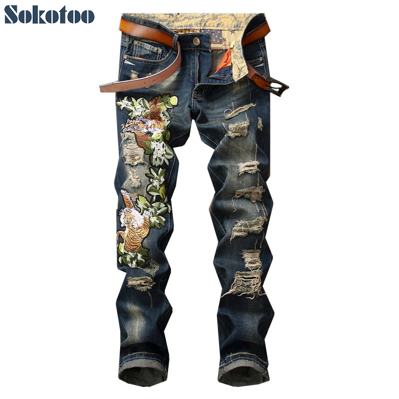 Sokotoo Men's tiger embroidery holes ripped jeans Fashion slim distressed trendy denim pants