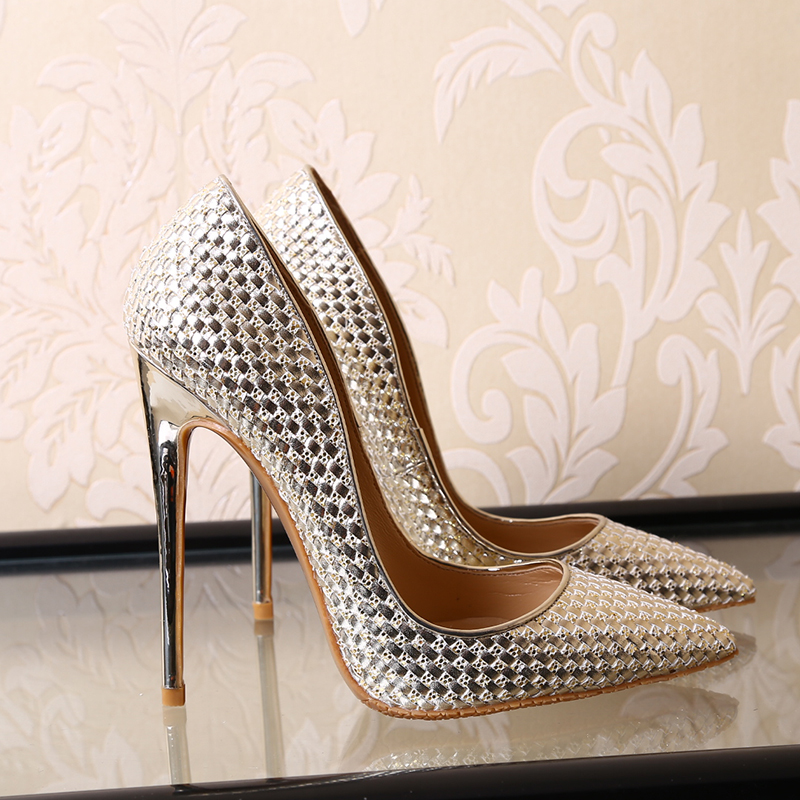 2017 Spring and Summer High-Heeled Shoes Pointed Toe Thin Heels Paillette Gold Crystal Wedding Shoes Bridal Pumps Shallow Mouth moonmeek new arrive spring summer female pumps high heels pointed toe thin heel shallow party wedding flock pumps women shoes