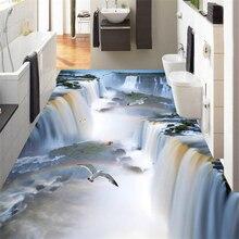 Wellyu Custom ריצוף ציור 3d ציורי קיר קליף מפל ציפור אמבטיה מטבח שביל 3D רצפת מדבקות סלון טפט