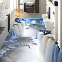 wellyu Custom flooring painting 3d murals cliff waterfall bird bathroom kitchen walkway 3D floor stickers living room wallpaper