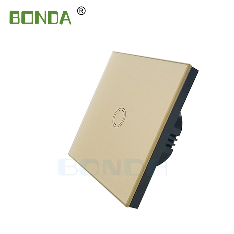 BONDA touch switch, EU standard, white crystal, glass panel, touch switch, Ac220v, 1 set, 1 way, wall light, wall touch screen 3