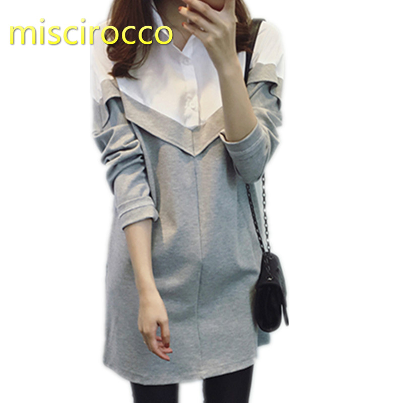 Fashion Pregnant Women Dress 2in1 Shirt Maternity Dress Long-Sleeve Spring and Autumn Shirts OL working elegant long sleeve round neck color block ol dress for women