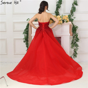 Image 4 - Dubai Design Red Full Crystal Evening Dresses Off Shoulder Sexy Luxury Mermaid Evening Gowns Serene Hill LA6637