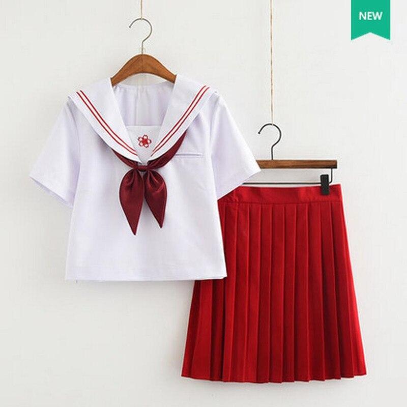 White Shirt Red font b Skirt b font Special Sailor Costumes High School Student JK Uniform
