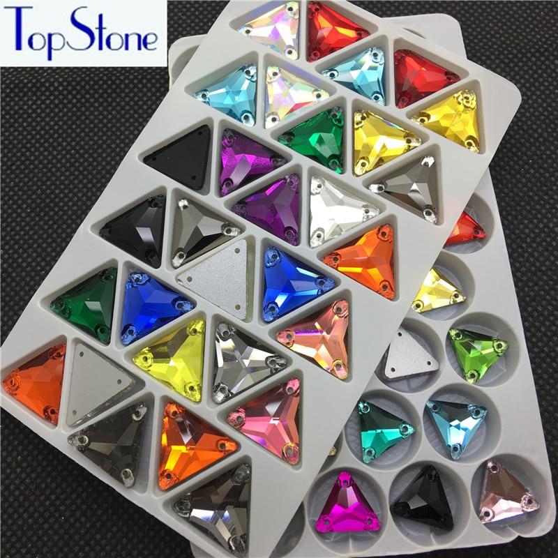 Mix Colours 12,16,22mm Triangle Strass Šití Flatback skleněné - Umění, řemesla a šití