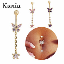 KUNIU Fashion Long section surgical steel navel piercing Women Sexy body jewelry CZ dangle belly button rings