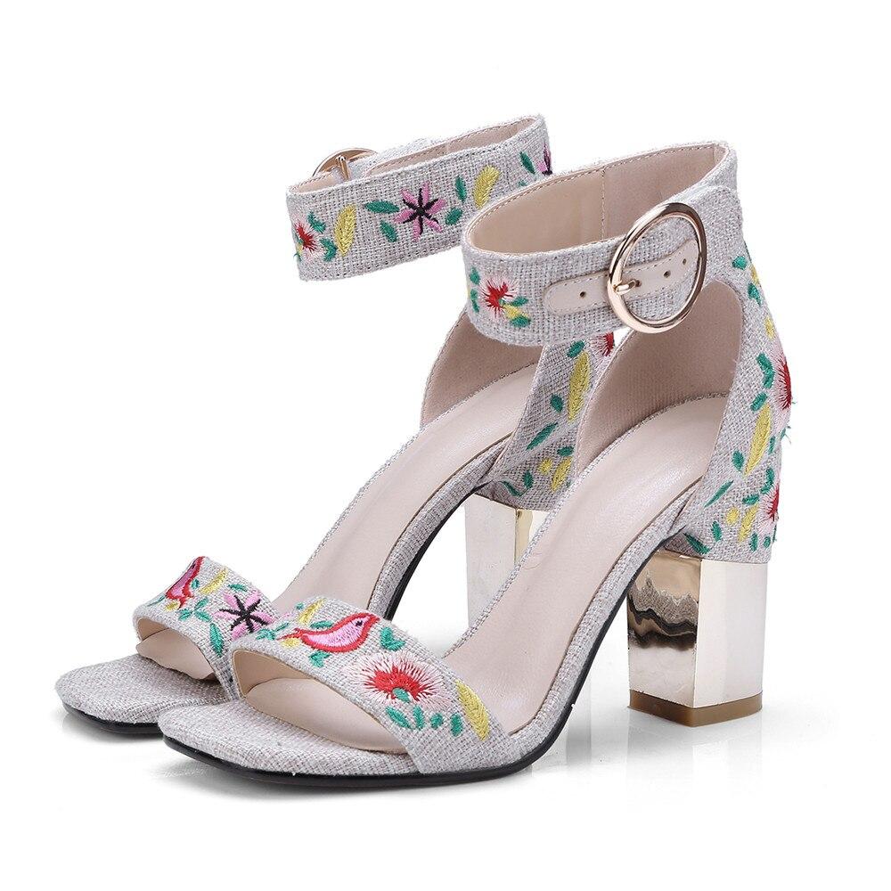 sposa ricama Shoes alti Fashion 2018 beige fibbia blu quadrato Summer elegante Ladies tacchi Asumer sandali Tacco Svq8q