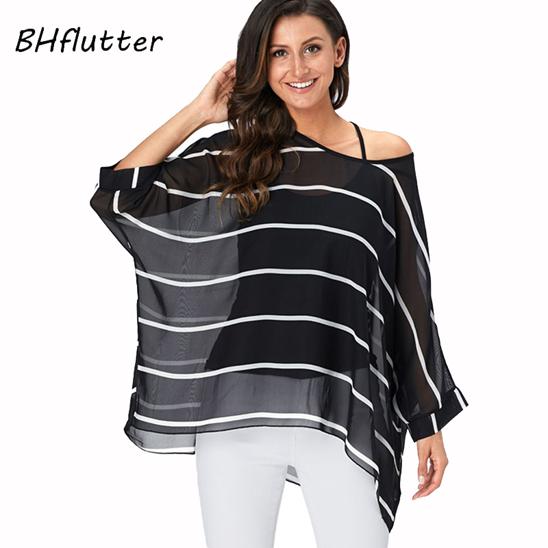 BHflutter 4XL 5XL 6XL Plus Size Blouse Shirt Women New Striped Print Summer Tops Tees Batwing Sleeve Casual Chiffon Blouses 2019