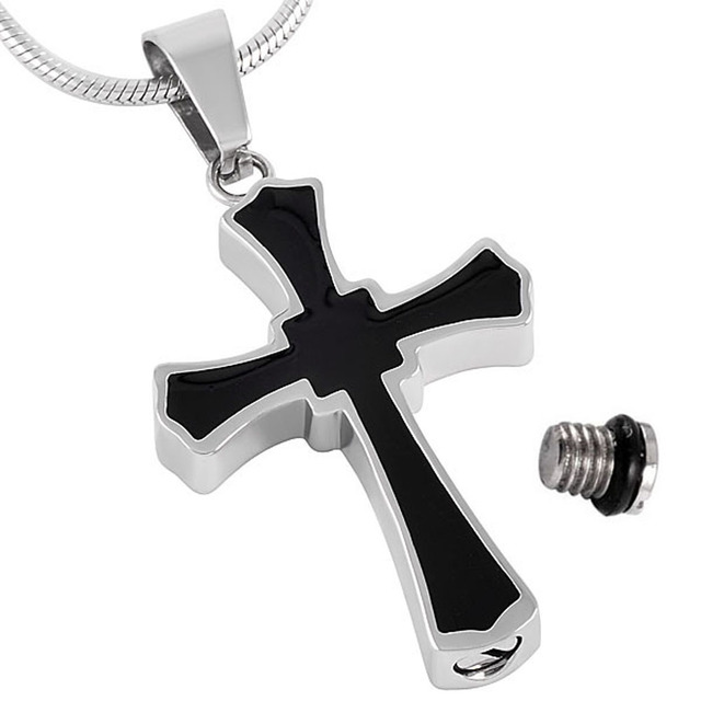 Shiny Black Cross Urn Necklace