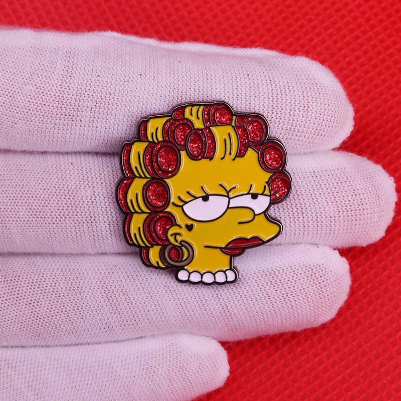 Sassy Lisa emaye pin sevimli karikatür Simpsons broş elmas rozeti pop kültürü pimleri komik anime hediye kadın gömlek sırt çantası erişim